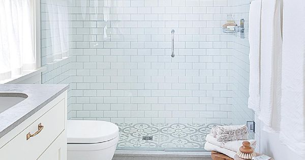 not so plain white bathroom with great walk-in shower, grey & white