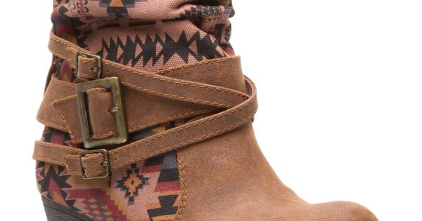 Aztec printed brown boots