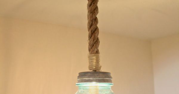 Blue Nautical String Lights : Single Pendant Antique Blue Mason Jar Light with Nautical Rope and Stained Wood Square Base ...