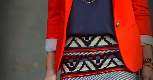 color fall. Red blazer. Tribal print skirt
