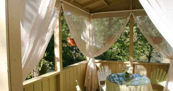 Use Mosquito Netting As Curtains Around My Patio To Keep