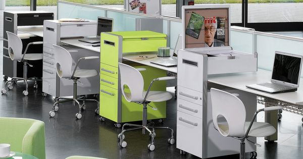Bite mobile desk pedestals wrap around office bench desks for Wrap around desk plans