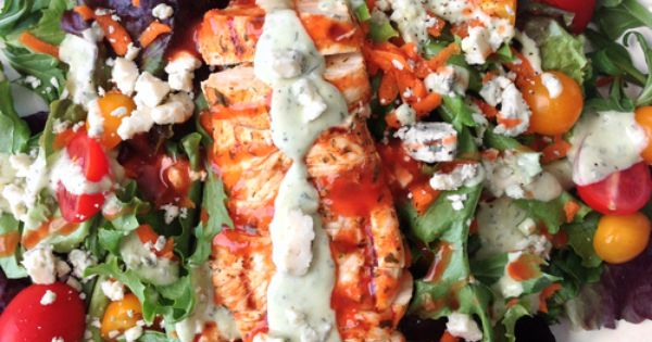 Skinny Grilled Buffalo Chicken Salad Avocado Ranch — The Skinny Fork