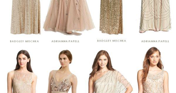 Bridesmaid Dresses In Neutrals Champagne Beige And Pale: Mismatched Neutral Bridesmaid Dresses
