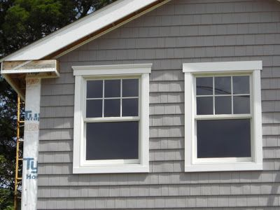 Today Doug Finished The Siding On The Front Of The House And Put The Trimboards Up For Most Of The Front Outdoor Window Trim Window Trim Exterior Exterior Trim
