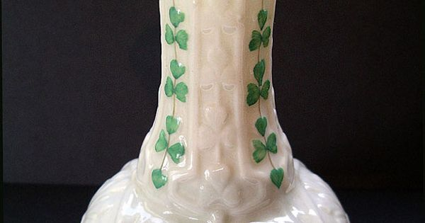Belleek Irish Porcelain Second Black Mark Shamrock Pattern Onion Shaped Vase C 1891 1926