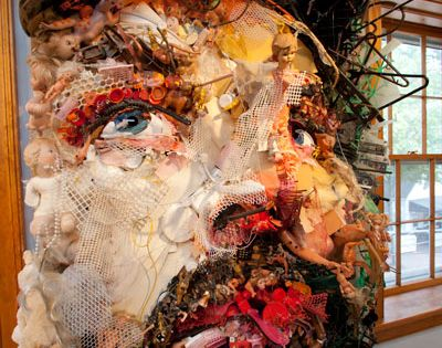 Rhode Island artist Tom Deininger creates large-scale collages from found objects scavenged