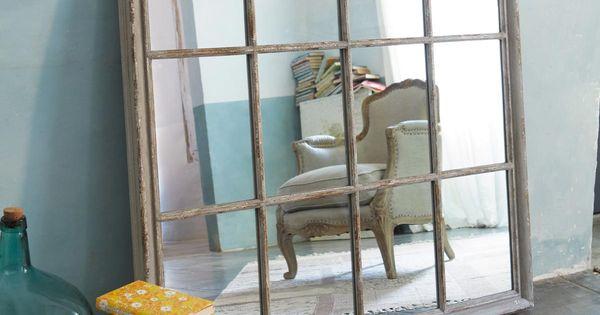 Grijze houten camargue spiegel h 120 cm maisons du monde huis landelijk pinterest for Spiegel camargue