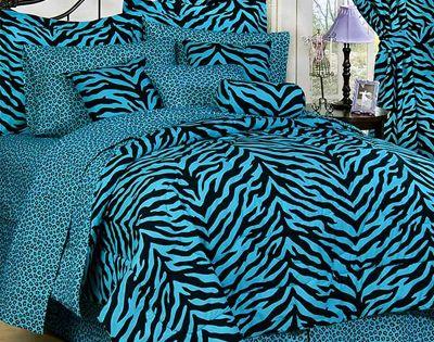 Blue zebra bedroom bedroom design zebra stripes styling for Blue zebra print bedroom ideas