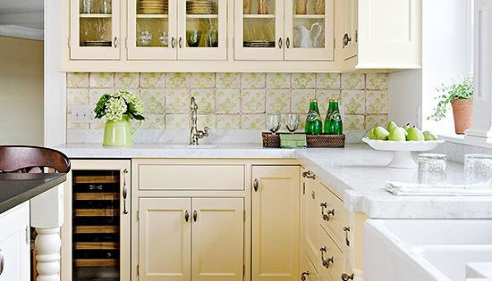 Sweetly nostalgic color scheme i want to live here for Buttercream kitchen cabinets