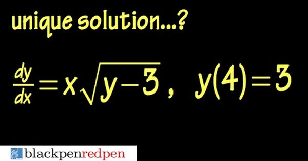 Existence Amp Uniqueness Theorem Ex1 Youtube Theorems Differential Equations Equations