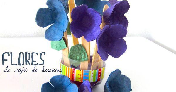 Flores de cartón de huevos.   Jugando y reciclando   Pinterest   Html ...
