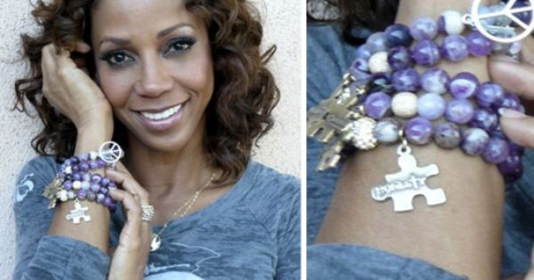 The Honesty Bracelet for Autism Awareness is made of Amethyst beads and