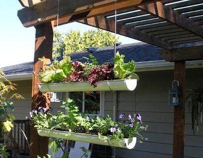 How to Make a Hanging Gutter Garden Idea for herb garden!