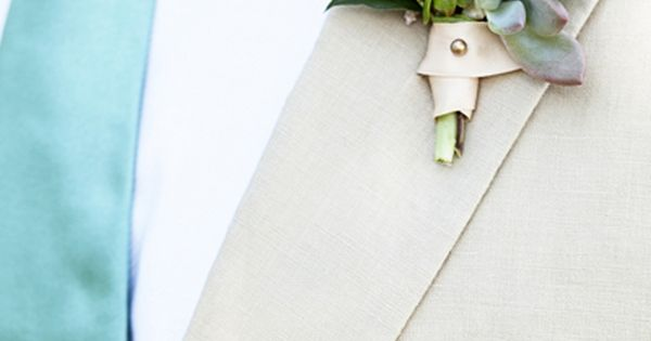 Wedding tie - succulent boutonniere | Kassie Moore #wedding
