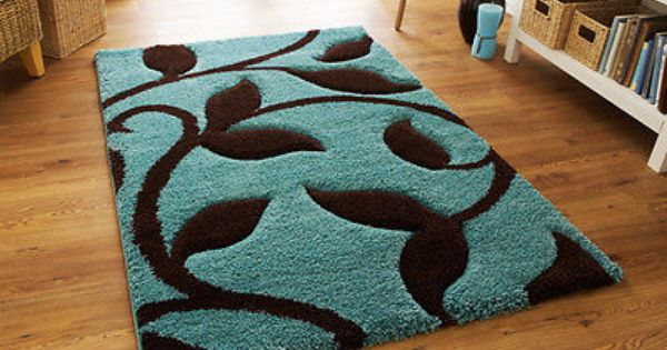 LARGE THICK DUCK EGG BLUE TEAL BLUE CHOCOLATE BROWN SHAGGY RUG 120x170cm Part 68