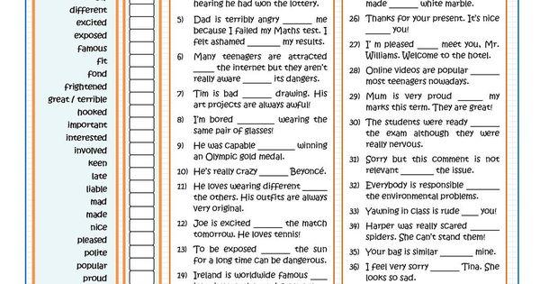 ADJECTIVES FOLLOWED BY PREPOSITIONS - PART 1 ESL worksheet ...