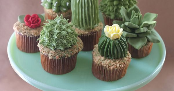 DIY Cactus Cupcakes ~ Instructions for the tall ribbed cactus only, the