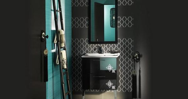 Teal and black bathroom inspiration images for bathroom for Teal and black bathroom decor