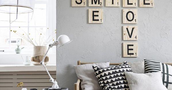 houten letters - lichte kleuren gecombineerd met hout - Livingroom ...