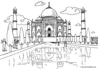 India Colouring Pages Cultural Architecture Taj Mahal Places