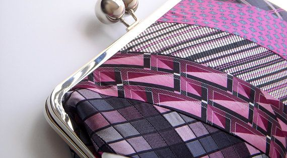 Pink Fuschia Black White Recycled Necktie Clutch by AscotHandbags on etsy (70 dollars) | See more about Clutches, Black White and Ties.
