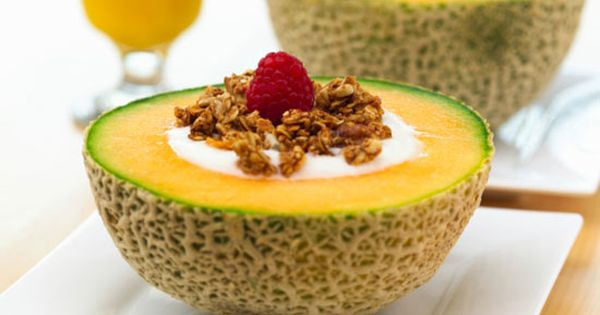 Breakfast Idea: Yogurt-Filled Cantaloupe. Delicious summer breakfast. Looks pretty, but cant imagine