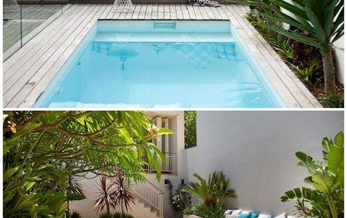 Dos jardines peque os y modernos con pileta jardines for Patios pequenos con jacuzzi