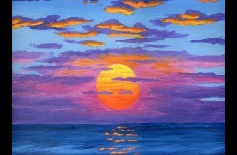 Comment peindre le soleil a l 39 acrylique sur la toile cours - Peindre sur de la peinture brillante ...