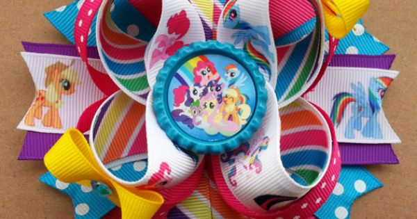 My Little Pony Inspired Boutique Stacked Hair Bow -My Little Pony Birthday