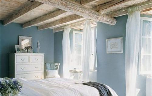 Love this wall color! blue bedroom walls with wood ceiling