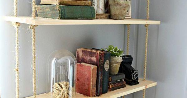 Como fazer sua própria estante de madeira suspensa | Pinterest | Pallets, House and Room