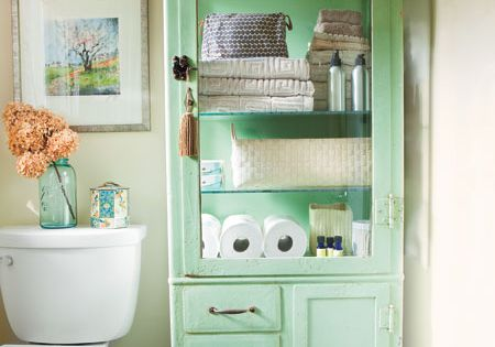 43 Practical Bathroom Organization Ideas | Shelterness I like the green cabinet...
