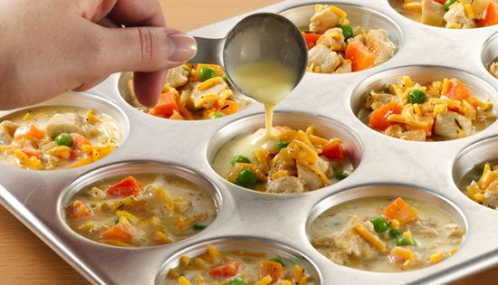 Mini chicken pot pies made w/ Bisquick. Use this recipe for any mini pies- like breakfast ones! You can freeze and microwave for single servings