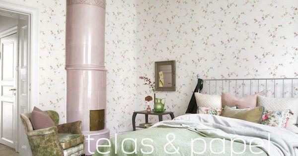 Dormitorio empapelado con papel pintado de flores rosas - Dormitorios empapelados ...