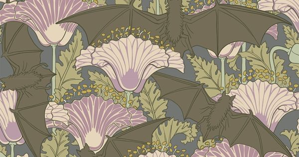 Arts and crafts movement arts and crafts and bats on - Bat and poppy wallpaper ...
