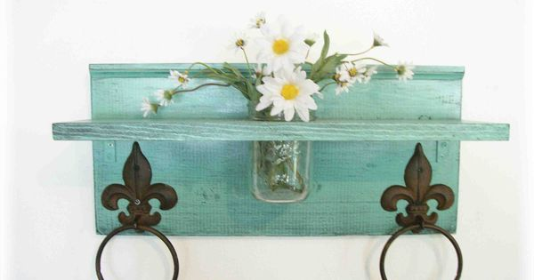 Mint green bathroom or kitchen fleur de lis towel rings shelf with mason jar mint green - Fleur de lis towel bar ...