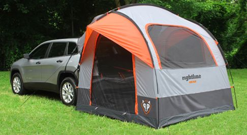 suv tent attaches to car so you can sleep in the back of the car and extra room in the tent. Black Bedroom Furniture Sets. Home Design Ideas