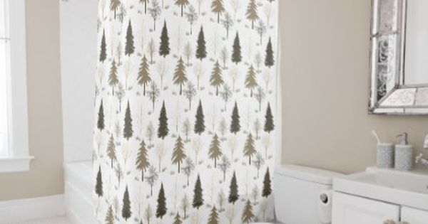 Cabin Style Woodsy Fall Winter Tree Pattern Shower Curtain