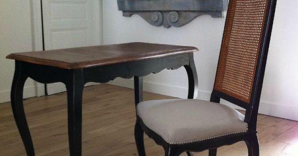Bureau noir et plateau bois meubles patin s pinterest for Meubles patines