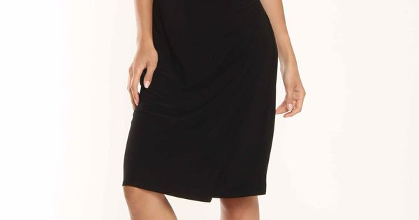 Evan Picone Jersey Side Shirred Dress In Black - Very classy