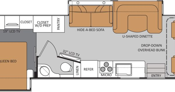 Bath And Half Class A Rv With Overhead Bunk Amp Rear