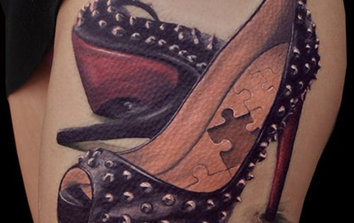 High heel shoe tattoo