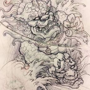 Foodog Sketch Sketch Drawing Illustration Foodog Hannya Asiantattoo Asianink Irezumi Tattoo Foo Dog Tattoo Design Japanese Tattoo Art Foo Dog Tattoo