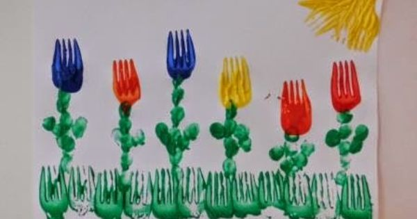 mamamisas welt tulpen aus gabeldruck basteln mit kindern pinterest kindergarten. Black Bedroom Furniture Sets. Home Design Ideas