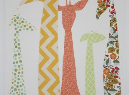 The Quick Journey: Giraffe Canvas - very cute! DIY with fabric on