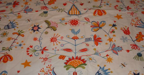 ikea modern swedish fabric alfhild birds floral like marimekko vintage folk art 1960s. Black Bedroom Furniture Sets. Home Design Ideas