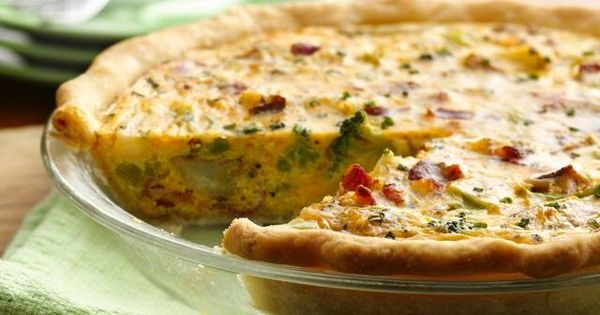 Broccoli, Potato and Bacon Quiche-Pillsbury pie crust, bag of Green Giant frozen