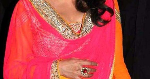 Madhuri Dixit In Cleavage Exposing Dark Yellow Orange