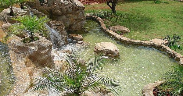 Cachoeira artificial com lago de carpas lago fonte - Carpas para patios ...